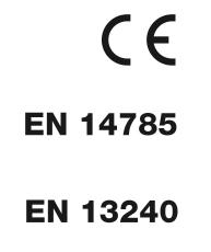 Ravelli è un marchio CE e segue le normative europee per gli apparecchi di riscaldamento di spazi residenziali alimentati con pellet e con combustibili solidi